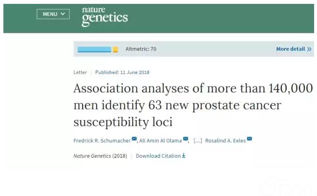 Nature子刊:逾14万研究表明,这些基因会大大增加前列腺癌风险!