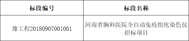 河南省胸科医院全自动免疫组化染色仪招标项目