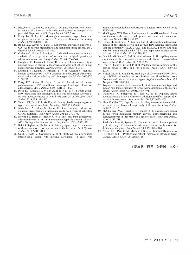 国际宫颈腺癌分类标准(IECC)——一种新的宫颈浸润性腺癌病理学分类