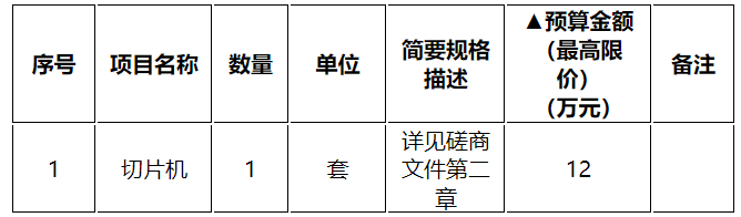 缙云县公共资源交易中心(政府采购中心)关于缙云县人民医院切片机(进口)政府采购项目的竞争性磋商公告