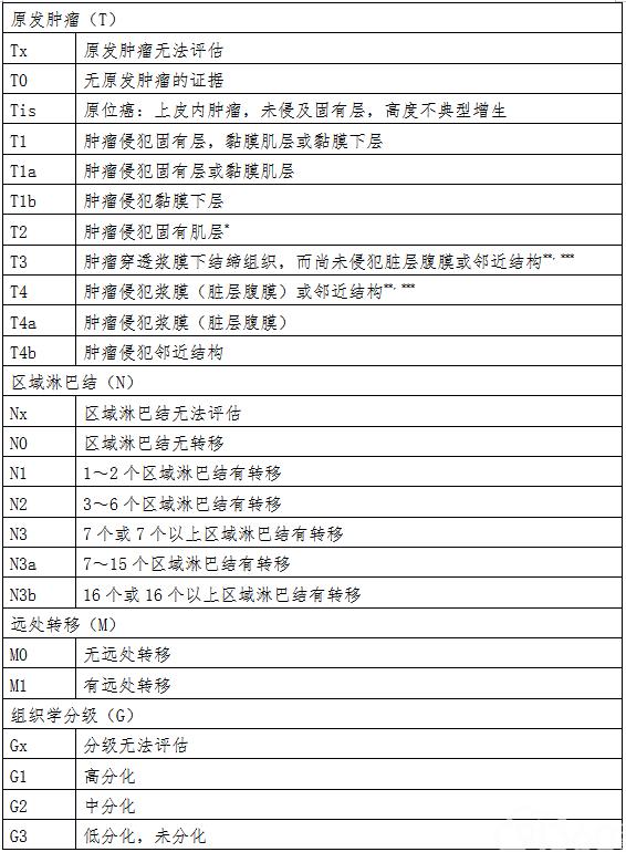 AJCC/UICC胃癌TNM分期(第八版)